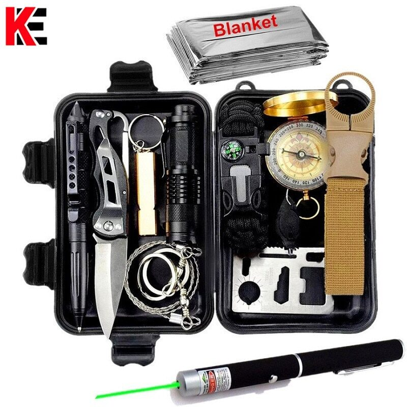 Survival kit set military outdoor travel mini camping tools aid kit emergency multifunct survive wristband whistle