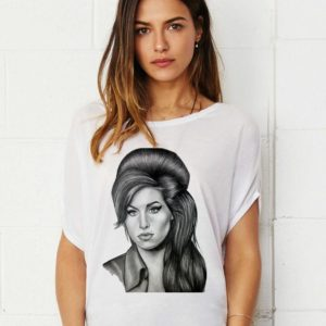 AMY WINEHOUSE Drawing lady's tunic damen top shirt loose fit t-shirt