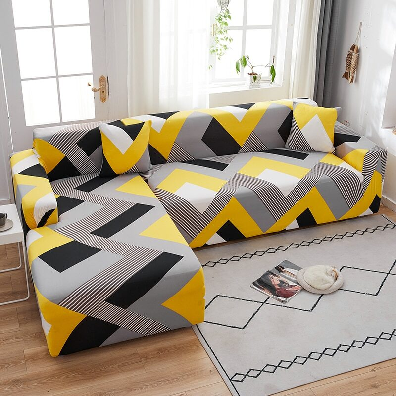 Sofa covers in many different geometrical designs