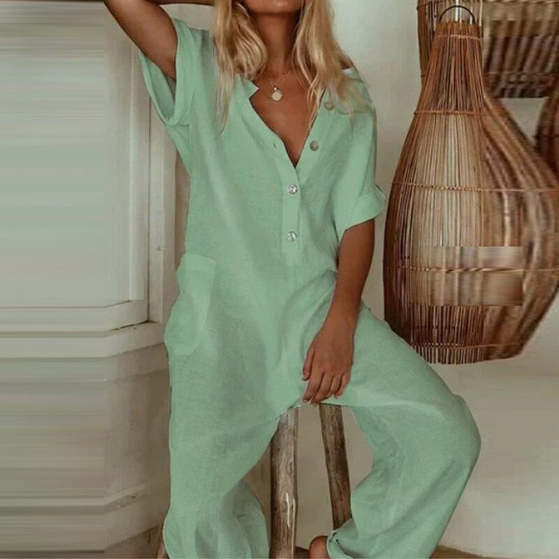 Casual loose overall with open neckline