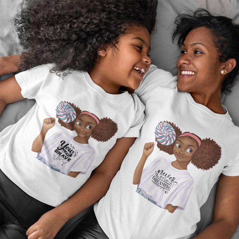 Optimistic and motivating t-shirts for mom and daughter