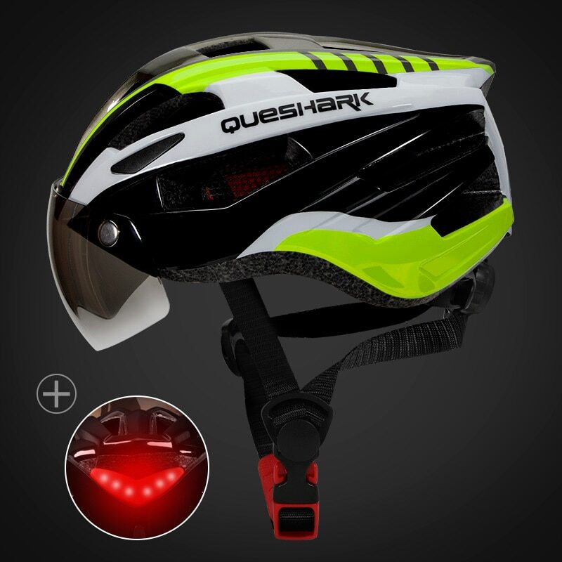 QUESHARK Men Women Ultralight Cycling Helmet Led Taillight MTB Road Bike Bicycle Motorcycle Riding Removable Lens Safely Cap 27