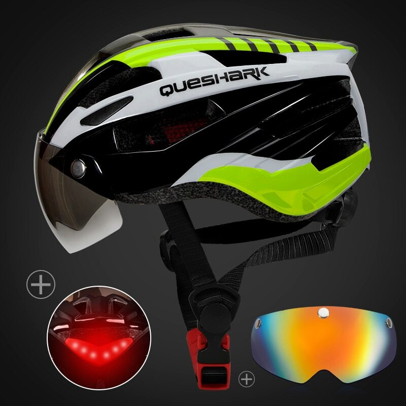 QUESHARK Men Women Ultralight Cycling Helmet Led Taillight MTB Road Bike Bicycle Motorcycle Riding Removable Lens Safely Cap 8