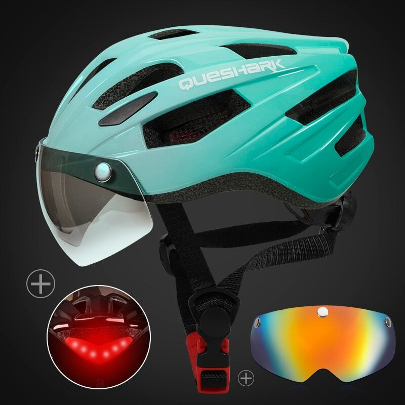 QUESHARK Men Women Ultralight Cycling Helmet Led Taillight MTB Road Bike Bicycle Motorcycle Riding Removable Lens Safely Cap 14