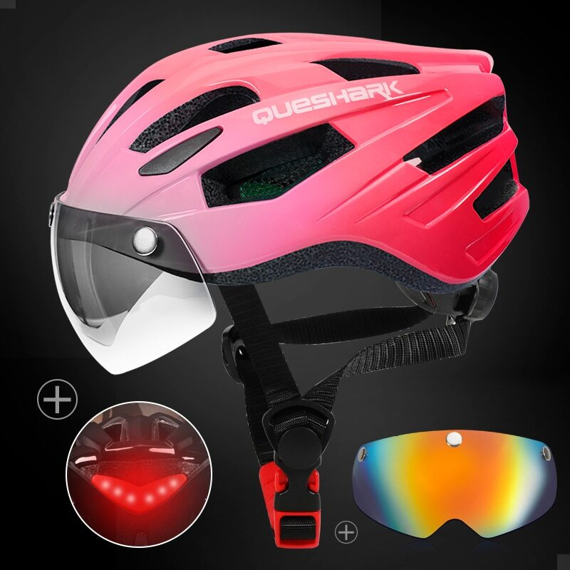 QUESHARK Men Women Ultralight Cycling Helmet Led Taillight MTB Road Bike Bicycle Motorcycle Riding Removable Lens Safely Cap 22