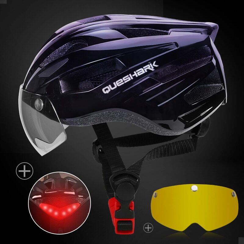 QUESHARK Men Women Ultralight Cycling Helmet Led Taillight MTB Road Bike Bicycle Motorcycle Riding Removable Lens Safely Cap 19