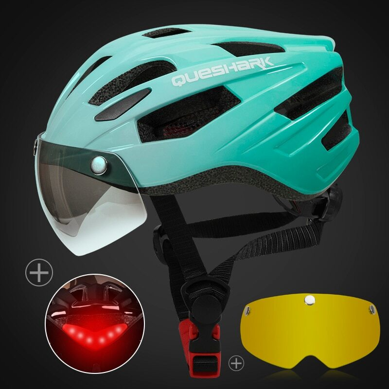 QUESHARK Men Women Ultralight Cycling Helmet Led Taillight MTB Road Bike Bicycle Motorcycle Riding Removable Lens Safely Cap 17