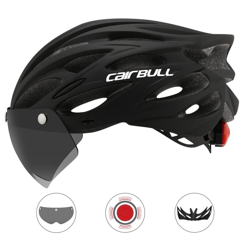Ultralight Cycling Safety Helmet Outdoor Motorcycle Bicycle Taillight Helmet Removable Lens Visor Mountain Road Bike Helmet 10
