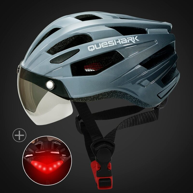 QUESHARK Men Women Ultralight Cycling Helmet Led Taillight MTB Road Bike Bicycle Motorcycle Riding Removable Lens Safely Cap 7