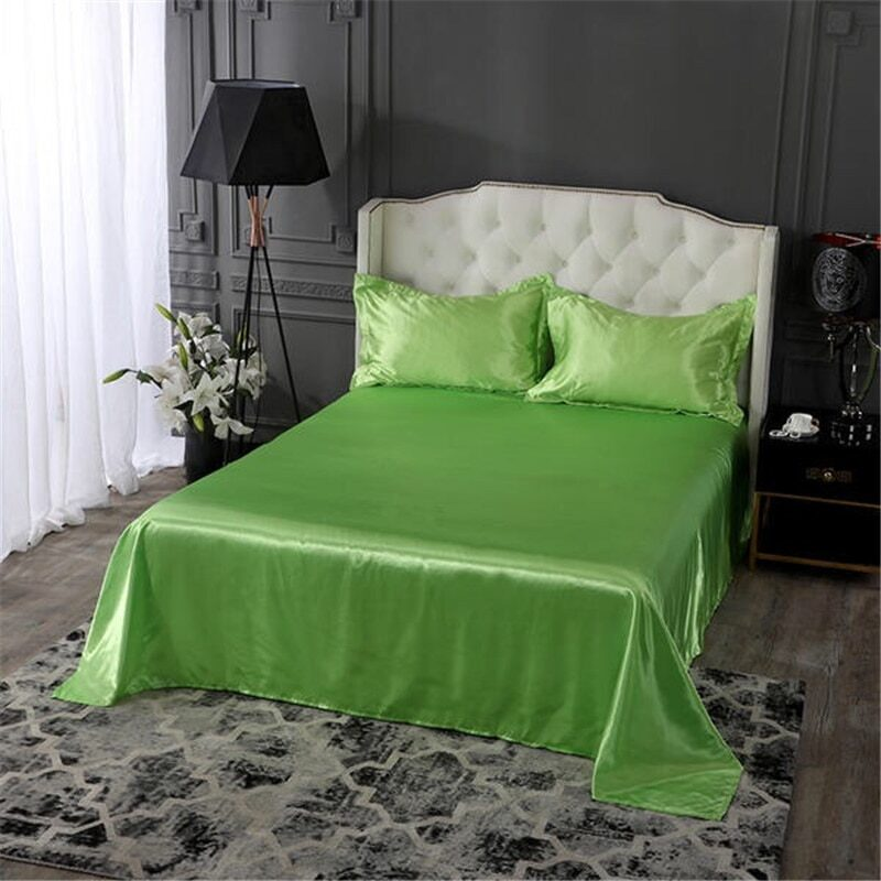 18 colors luxury satin silk flat bed sheet set single queen size king size bedspread cover linen sheets double full double sexy 13