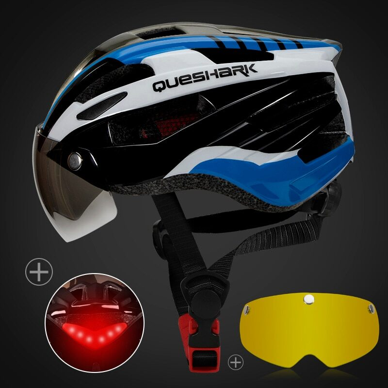 QUESHARK Men Women Ultralight Cycling Helmet Led Taillight MTB Road Bike Bicycle Motorcycle Riding Removable Lens Safely Cap 26