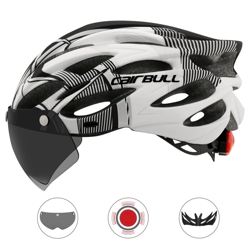 Ultralight Cycling Safety Helmet Outdoor Motorcycle Bicycle Taillight Helmet Removable Lens Visor Mountain Road Bike Helmet 7