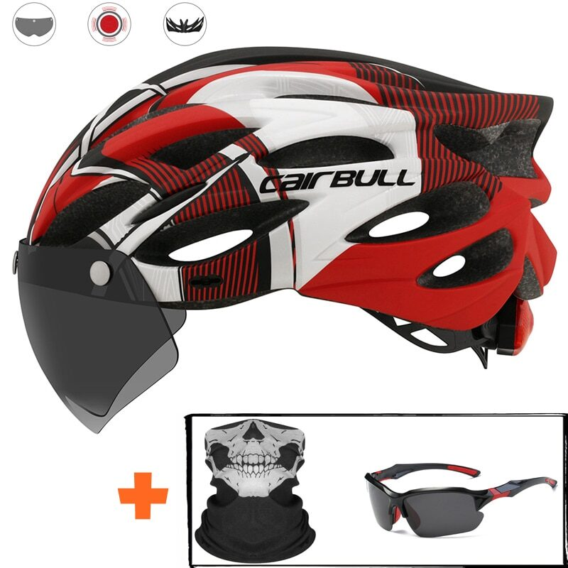 Ultralight Cycling Safety Helmet Outdoor Motorcycle Bicycle Taillight Helmet Removable Lens Visor Mountain Road Bike Helmet 14