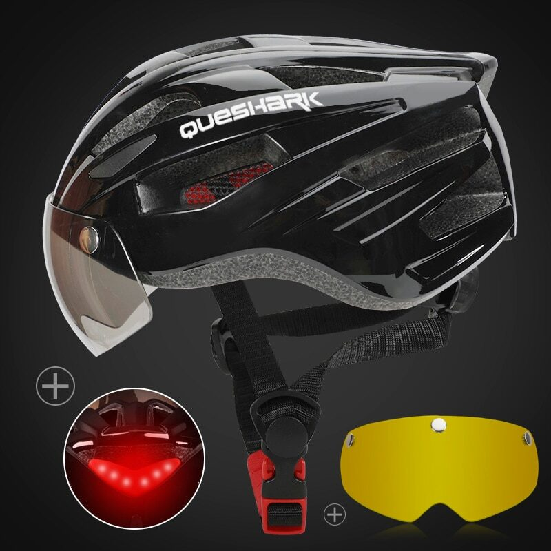 QUESHARK Men Women Ultralight Cycling Helmet Led Taillight MTB Road Bike Bicycle Motorcycle Riding Removable Lens Safely Cap 11