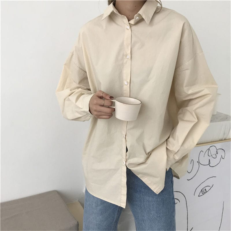 HziriP Women Blouses Spring Solid Blouse Loose Casual Vacation All-Match Women Tops Shirts Blusas Camisas Mujer 4 Colors 9