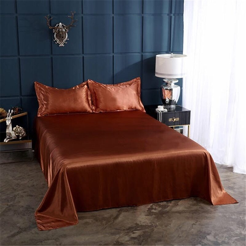 18 colors luxury satin silk flat bed sheet set single queen size king size bedspread cover linen sheets double full double sexy 19