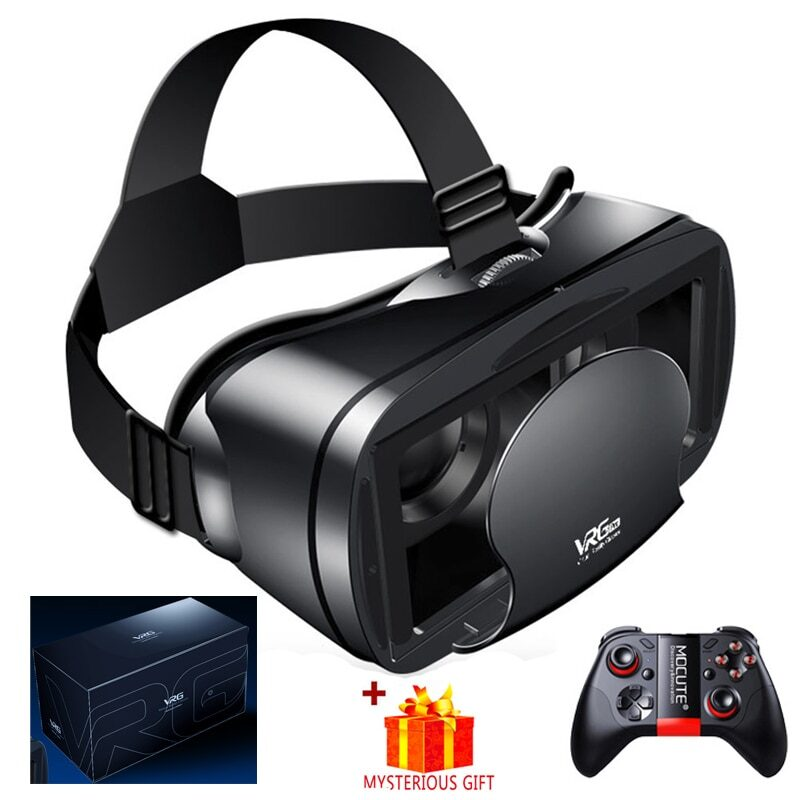 Virtual reality 3d vr headset smart glasses helmet for smartphones cell phone mobile 7 inches lenses binoculars with controllers