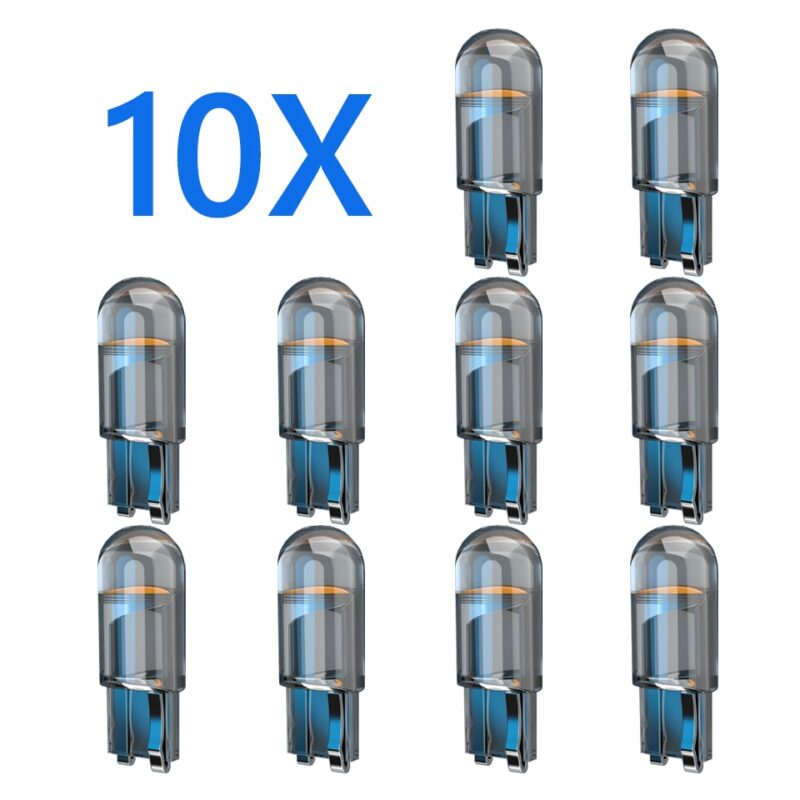 10x 2021 newest w5w led t10 car light cob glass 6000k white auto automobiles license plate lamp dome read drl bulb style 12v