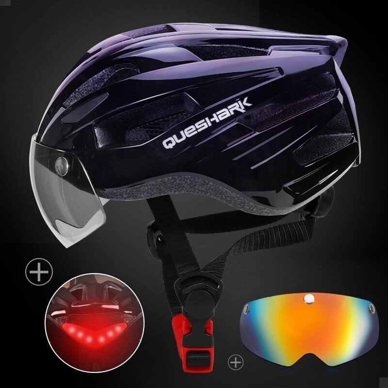 QUESHARK Men Women Ultralight Cycling Helmet Led Taillight MTB Road Bike Bicycle Motorcycle Riding Removable Lens Safely Cap 18