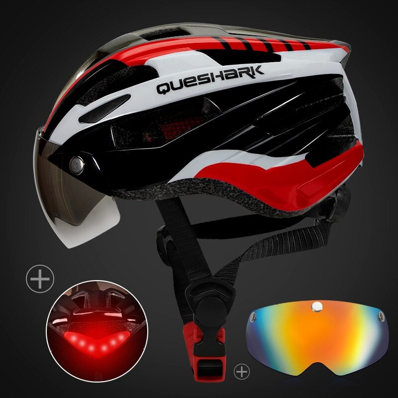 QUESHARK Men Women Ultralight Cycling Helmet Led Taillight MTB Road Bike Bicycle Motorcycle Riding Removable Lens Safely Cap 28