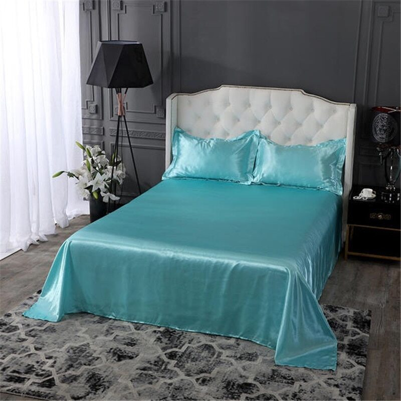 18 colors luxury satin silk flat bed sheet set single queen size king size bedspread cover linen sheets double full double sexy 14