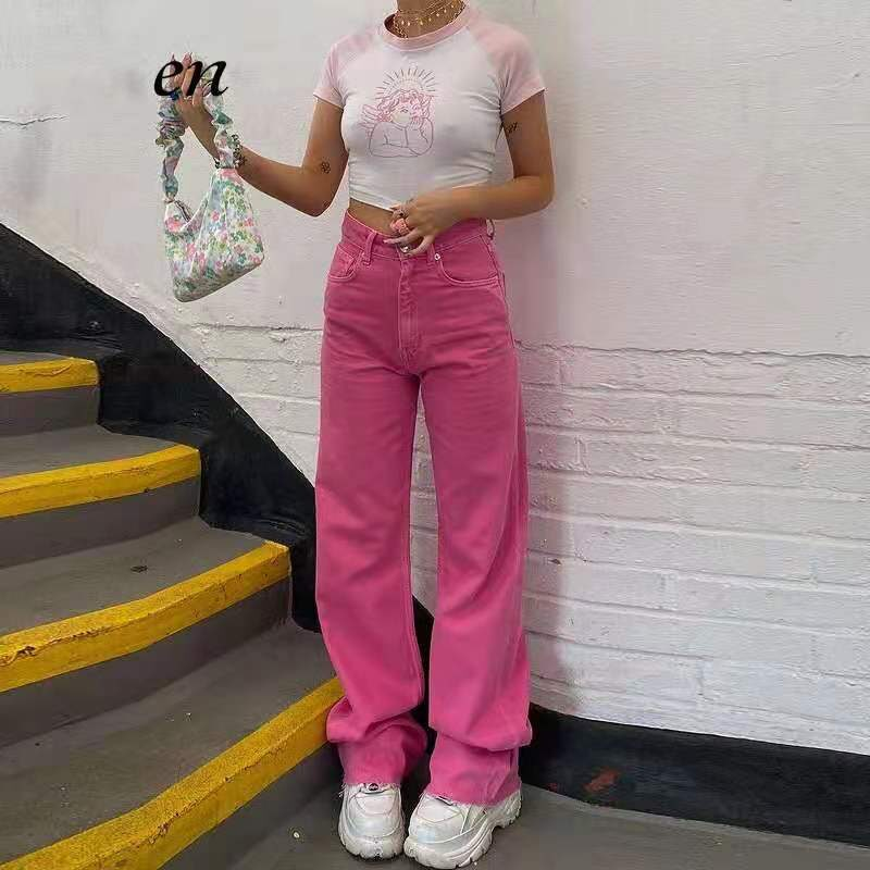 Loose street hot hot girl y2k high waist pants european and american new color fashion slim retro wide leg jeans women