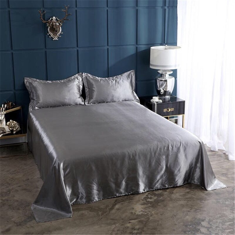 18 colors luxury satin silk flat bed sheet set single queen size king size bedspread cover linen sheets double full double sexy 17
