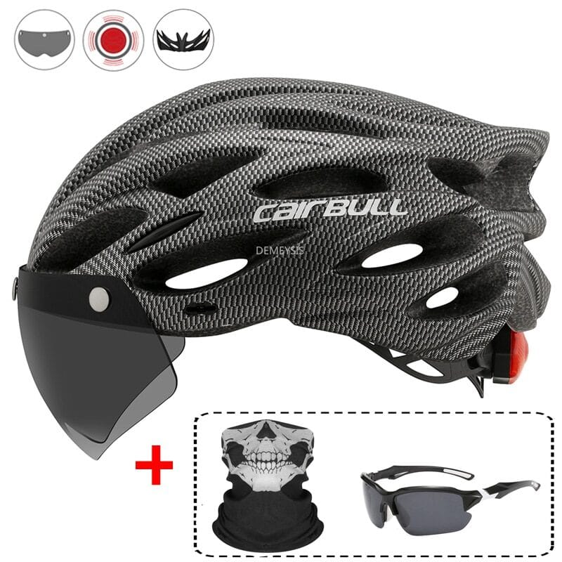 Ultralight Cycling Safety Helmet Outdoor Motorcycle Bicycle Taillight Helmet Removable Lens Visor Mountain Road Bike Helmet 1