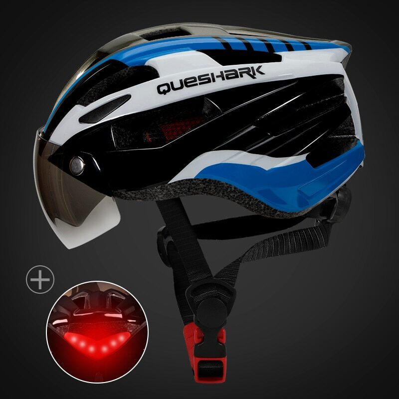 QUESHARK Men Women Ultralight Cycling Helmet Led Taillight MTB Road Bike Bicycle Motorcycle Riding Removable Lens Safely Cap 20