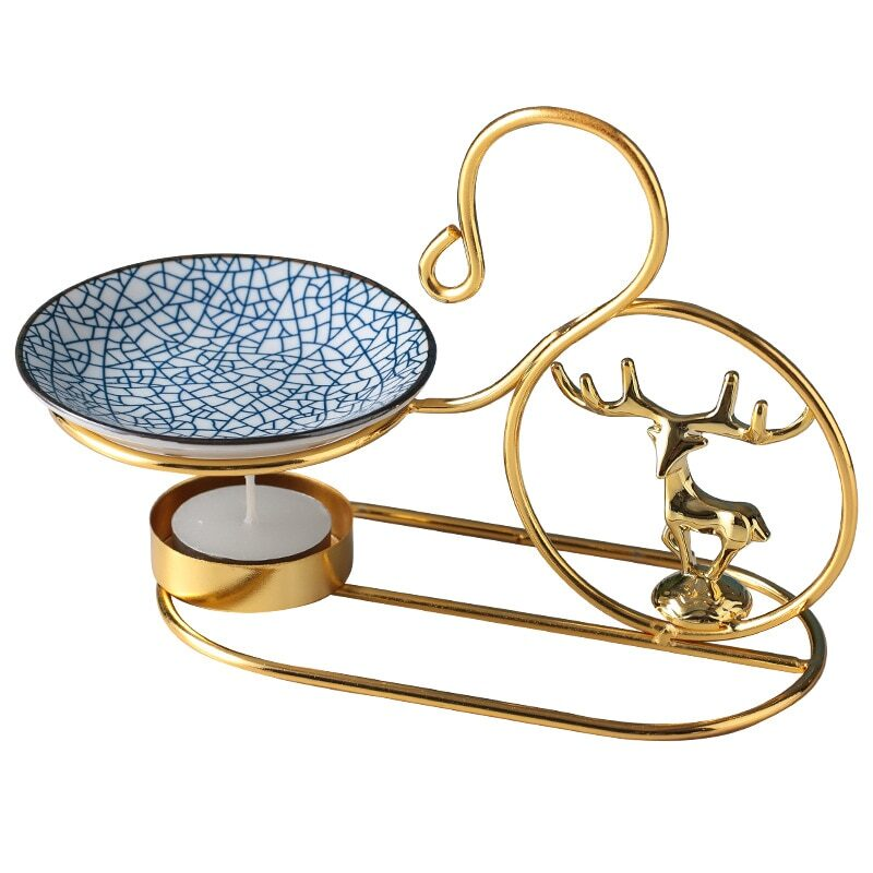 Gold metal base for burning essential oils and candles