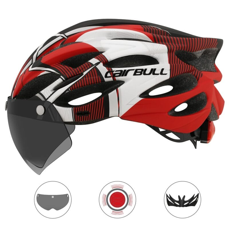 Ultralight Cycling Safety Helmet Outdoor Motorcycle Bicycle Taillight Helmet Removable Lens Visor Mountain Road Bike Helmet 8