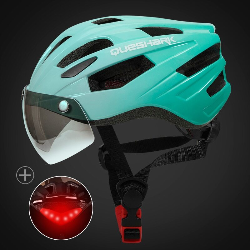 QUESHARK Men Women Ultralight Cycling Helmet Led Taillight MTB Road Bike Bicycle Motorcycle Riding Removable Lens Safely Cap 15