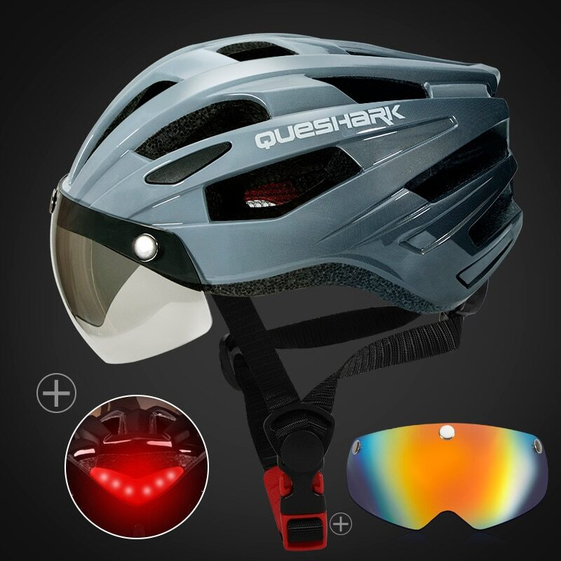 QUESHARK Men Women Ultralight Cycling Helmet Led Taillight MTB Road Bike Bicycle Motorcycle Riding Removable Lens Safely Cap 12