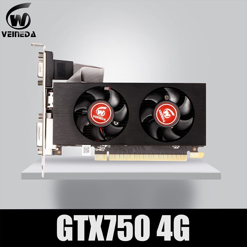 Veineda graphics card gtx 750 4gb 128bit  5012mhz gddr5 video card  vga cards for nvidia geforce game stronger than r7 350 2gb
