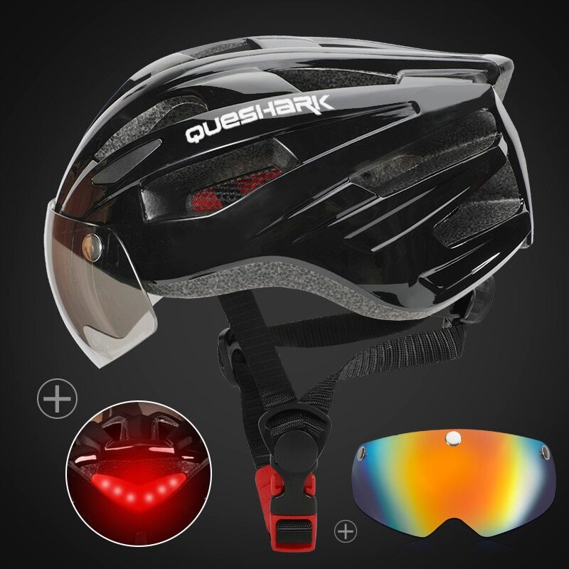 QUESHARK Men Women Ultralight Cycling Helmet Led Taillight MTB Road Bike Bicycle Motorcycle Riding Removable Lens Safely Cap 10