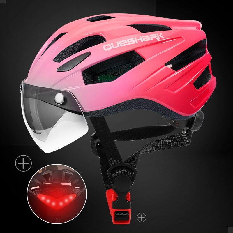 QUESHARK Men Women Ultralight Cycling Helmet Led Taillight MTB Road Bike Bicycle Motorcycle Riding Removable Lens Safely Cap 21