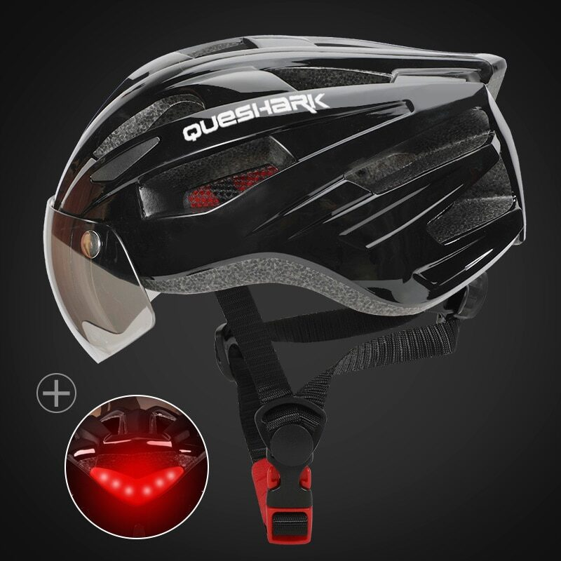 QUESHARK Men Women Ultralight Cycling Helmet Led Taillight MTB Road Bike Bicycle Motorcycle Riding Removable Lens Safely Cap 29