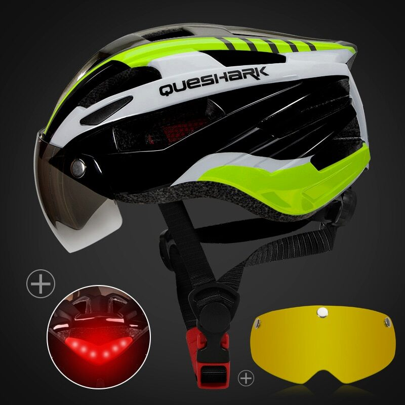 QUESHARK Men Women Ultralight Cycling Helmet Led Taillight MTB Road Bike Bicycle Motorcycle Riding Removable Lens Safely Cap 9