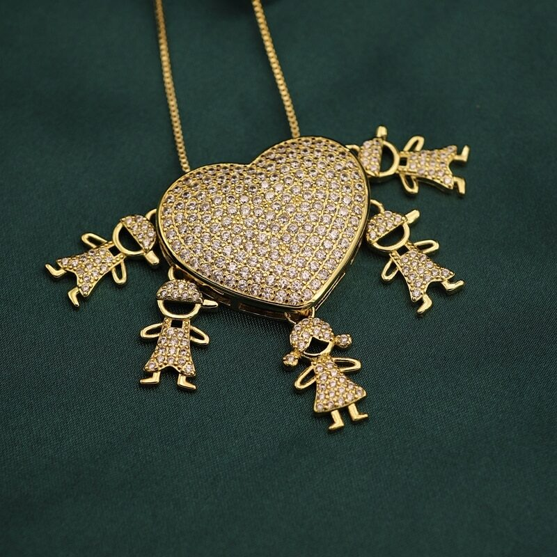 Women's necklace pendant with heart boy girl