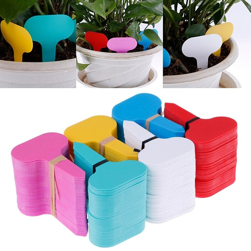 100pcs garden labels  plant classification sorting sign tag ticket plastic writing plate board plug in card colorful