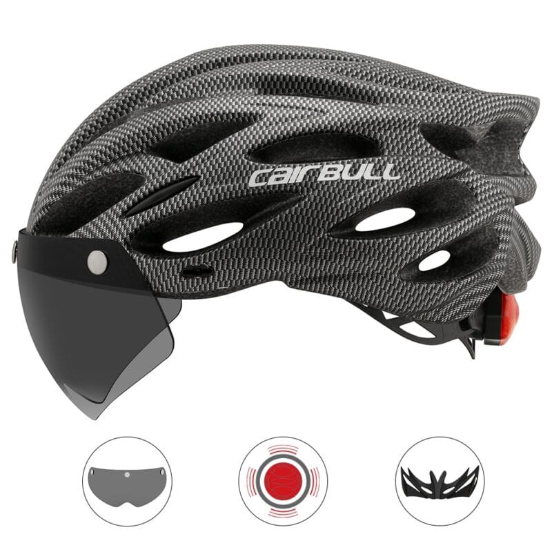 Ultralight Cycling Safety Helmet Outdoor Motorcycle Bicycle Taillight Helmet Removable Lens Visor Mountain Road Bike Helmet 9