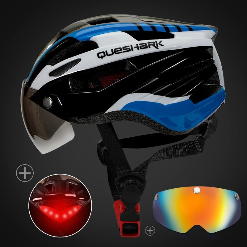 QUESHARK Men Women Ultralight Cycling Helmet Led Taillight MTB Road Bike Bicycle Motorcycle Riding Removable Lens Safely Cap 23