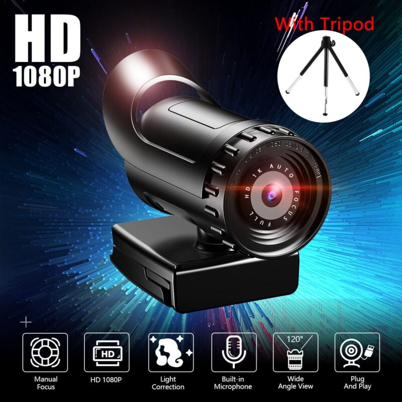 Webcam 4k 2k auto focus pc web cam full hd 1080p wide angle beauty camera with microphone for live streaming video conference