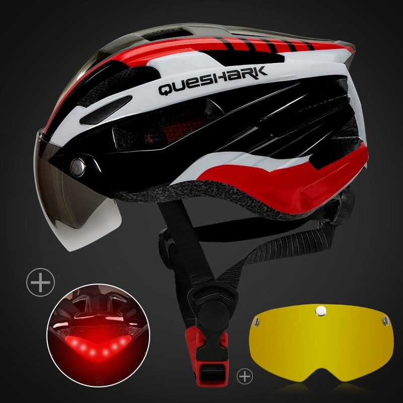 QUESHARK Men Women Ultralight Cycling Helmet Led Taillight MTB Road Bike Bicycle Motorcycle Riding Removable Lens Safely Cap 30