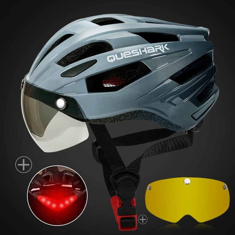 QUESHARK Men Women Ultralight Cycling Helmet Led Taillight MTB Road Bike Bicycle Motorcycle Riding Removable Lens Safely Cap 13