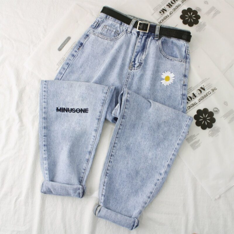 Daisy embroidery denim jean women high waist jeans plus size denim harem trousers mujer vintage casual jeans straight women pant