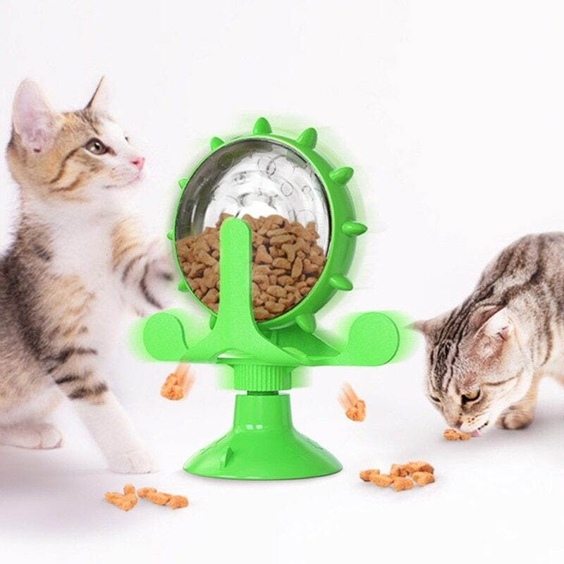 Cats Turntable Leakage Food Toy Cat Puzzle Interactive Training Pet Turntable Rotation Leakage Food Toy for Small Medium Pets 1