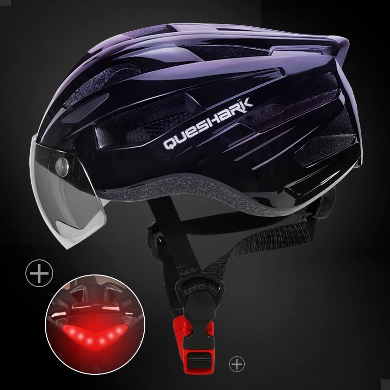 QUESHARK Men Women Ultralight Cycling Helmet Led Taillight MTB Road Bike Bicycle Motorcycle Riding Removable Lens Safely Cap 16