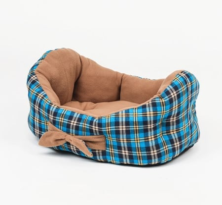 Cradle shaped dog beds in plaid pattern