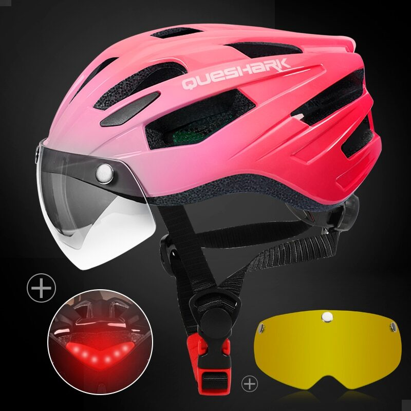 QUESHARK Men Women Ultralight Cycling Helmet Led Taillight MTB Road Bike Bicycle Motorcycle Riding Removable Lens Safely Cap 25